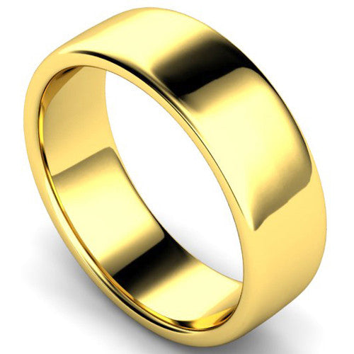 Edged slight court profile wedding ring in yellow gold, 7mm width