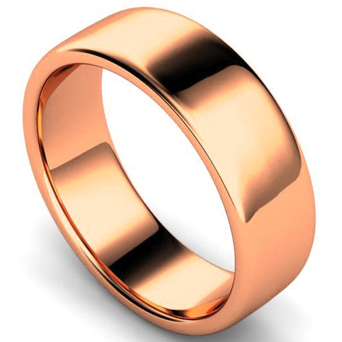Edged slight court profile wedding ring in rose gold, 7mm width