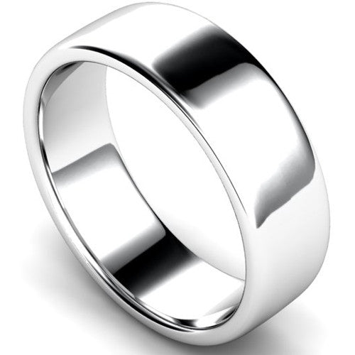 Edged slight court profile wedding ring in white gold, 7mm width