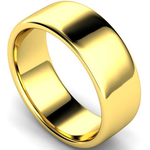 Edged slight court profile wedding ring in yellow gold, 8mm width