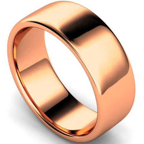 Edged slight court profile wedding ring in rose gold, 8mm width