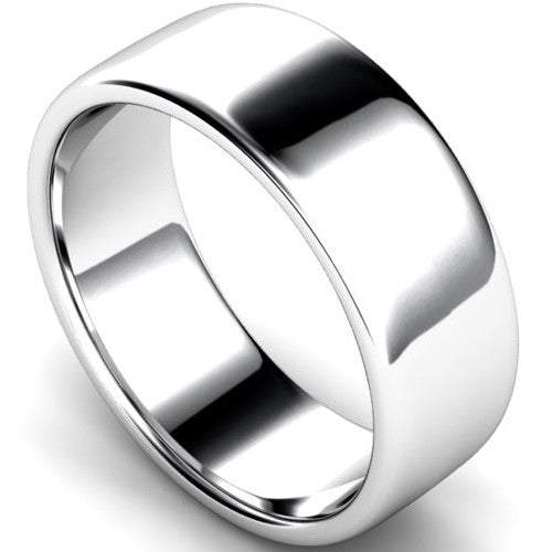 Edged slight court profile wedding ring in white gold, 8mm width