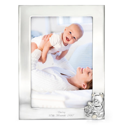 Teddy photograph frame, silver plated