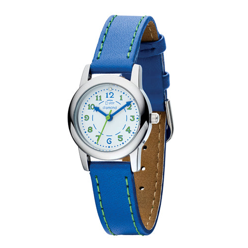 Diamond set blue strap children's watch