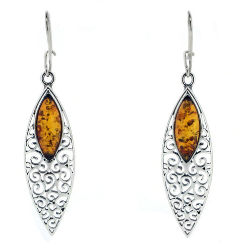 Filigree detail amber drop earrings in silver