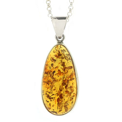 Large amber pendant and chain in silver