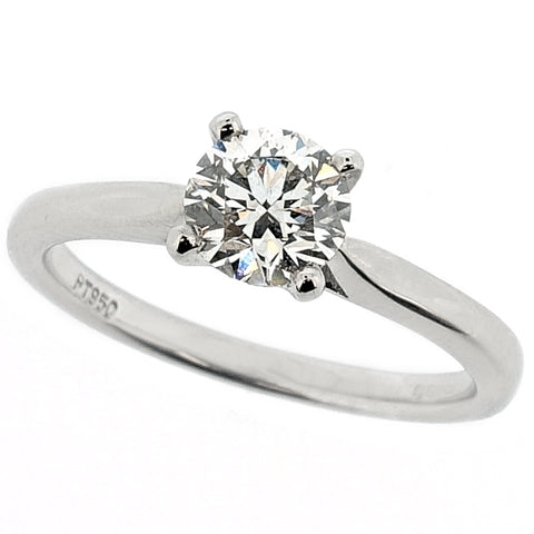 Brilliant cut diamond solitaire ring in platinum, 0.70ct