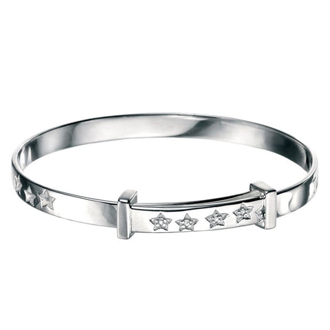 Twinkle star diamond set expanding bangle in silver