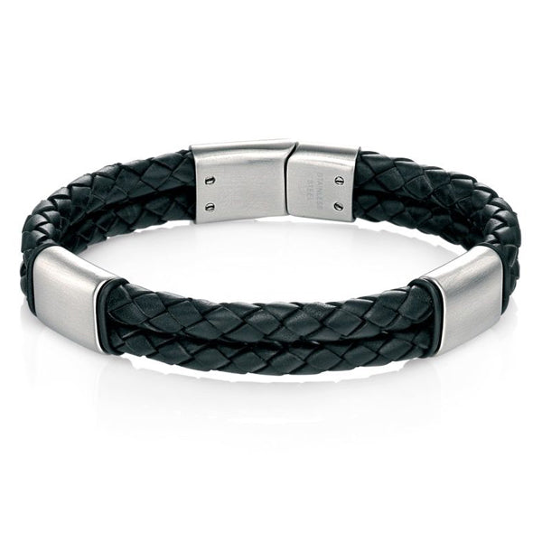 Two row black leather bracelet with brushed steel clasp
