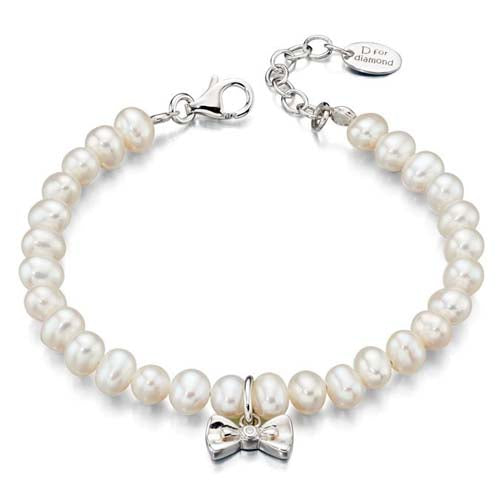 Freshwater pearl and diamond bracelet in sterling silver