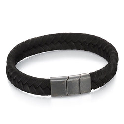 Black leather bracelet with brushed grey steel clasp