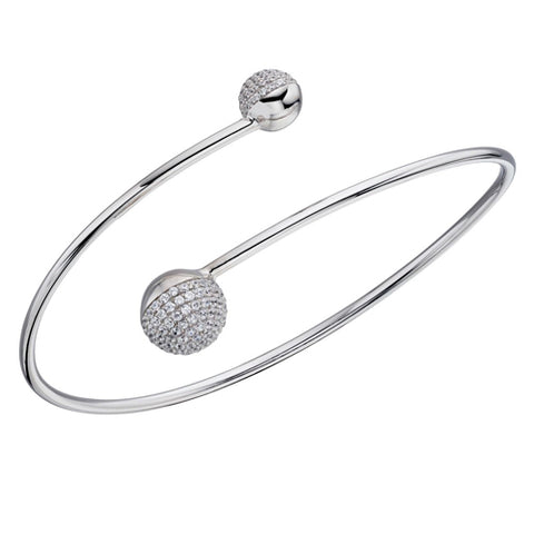 Cubic zirconia torque bangle in silver