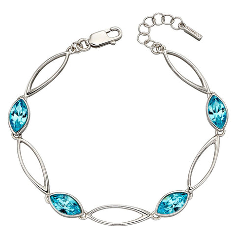 Aqua crystal marquise shape link bracelet in silver