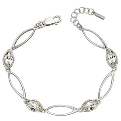 Marquise shape crystal bracelet in silver