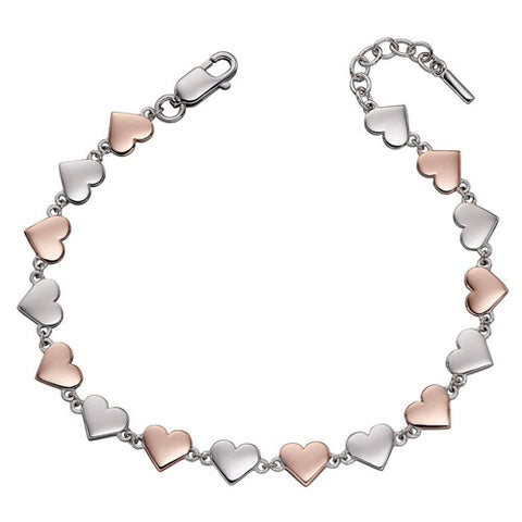 Heart link bracelet in silver with rose gold plating
