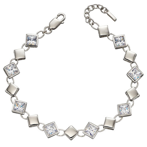 Cubic zirconia square link bracelet in silver