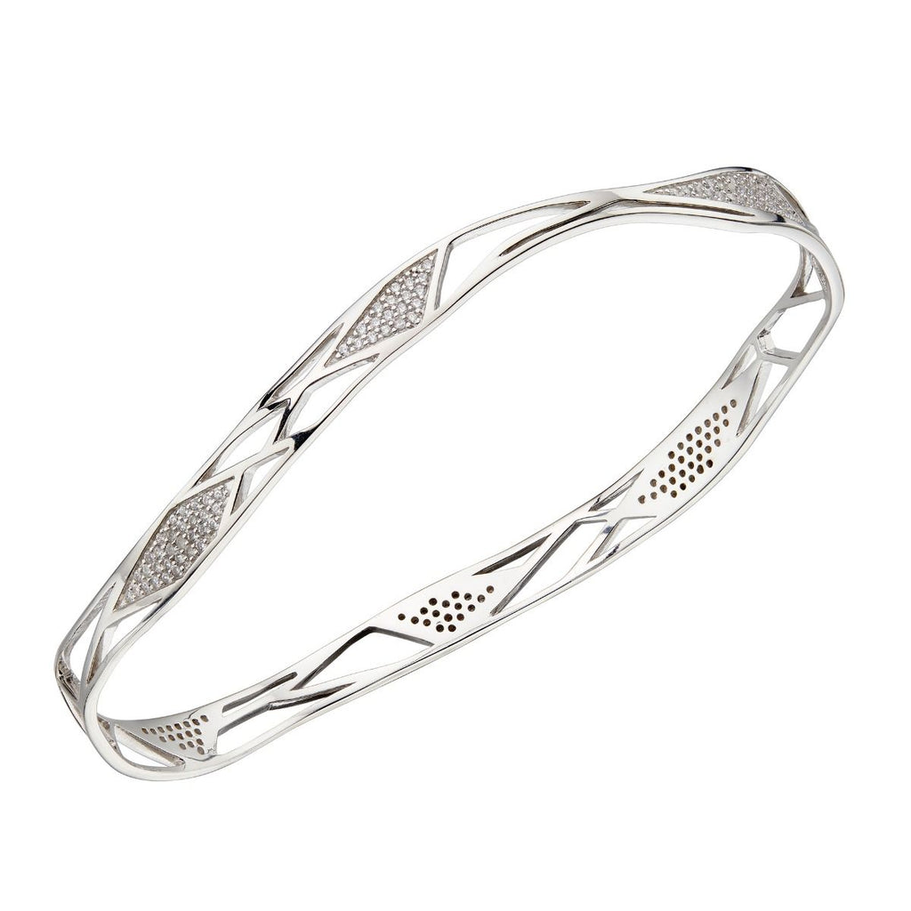 Cubic zirconia open folded design bangle in silver