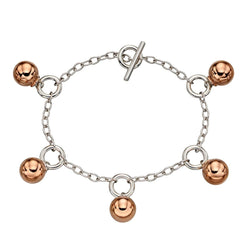 Bead detail toggle bracelet in silver with rose gold plating