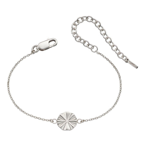 Bevelled disc bracelet in silver