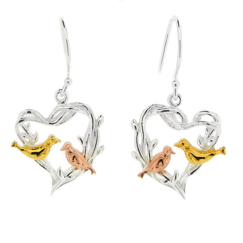 Earrings - Birds on a heart drop earrings in silver  - PA Jewellery