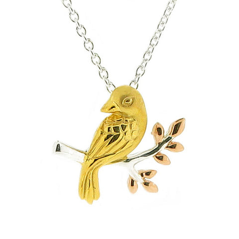 Neckwear - Bird pendant and chain in silver with yellow and rose gold plating  - PA Jewellery