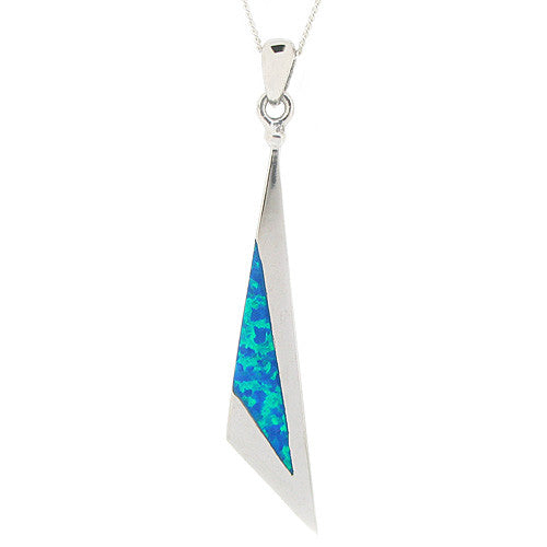 Neckwear - Blue simulated opal triangular pendant in silver  - PA Jewellery