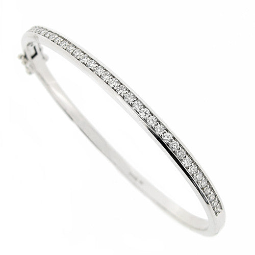 Wristwear - Grain set diamond bangle in 9ct white gold, 0.95ct  - PA Jewellery