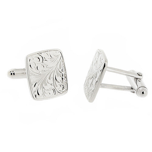 Cufflinks - Engraved pattern cufflinks in silver  - PA Jewellery