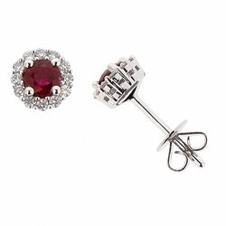 Earrings - Ruby and diamond cluster stud earrings in 18ct white gold  - PA Jewellery
