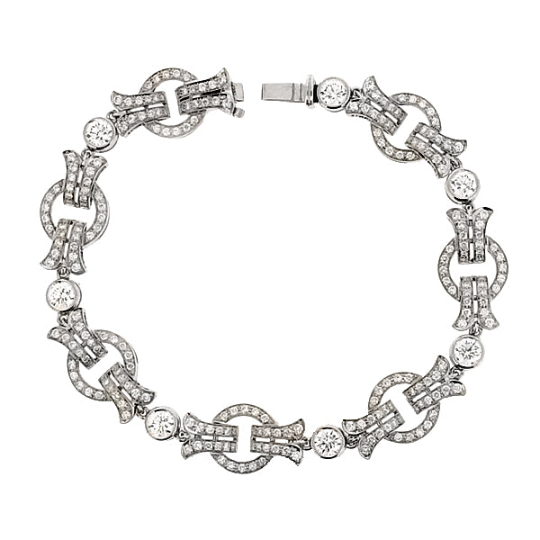 'Deco-style' circular diamond bracelet in 18ct white gold, 3.57ct