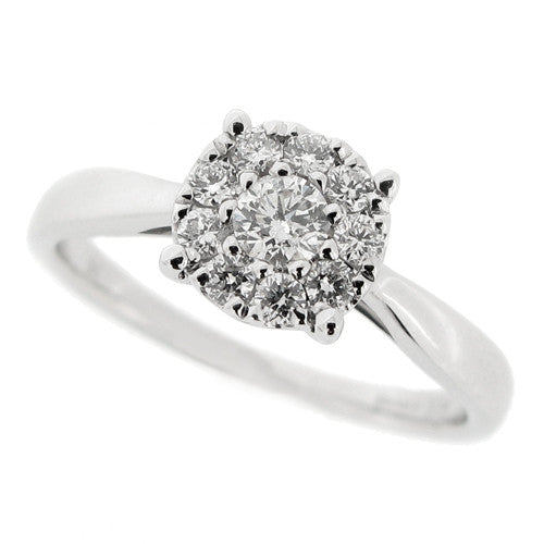 Ring - Diamond halo style cluster ring in 9ct white gold, 0.29ct  - PA Jewellery