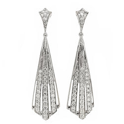 'Deco-style' diamond drop earrings in 18ct white gold, 0.61ct
