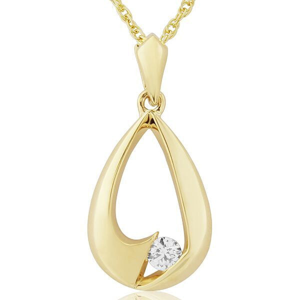 Neckwear - Diamond set teardrop shape pendant and chain in 9ct yellow gold  - PA Jewellery