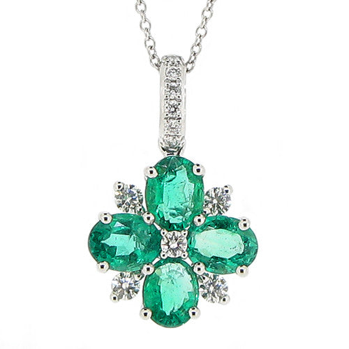 Neckwear - Emerald and diamond cluster pendant in 18ct white gold  - PA Jewellery