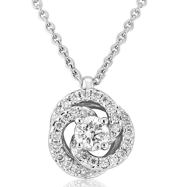 Neckwear - Diamond set knot pendant and chain in 18ct white gold, 0.25ct  - PA Jewellery