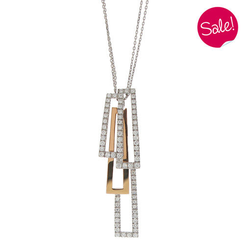 Neckwear - Diamond set 'Domino' pendant and chain in 18ct white gold  - PA Jewellery