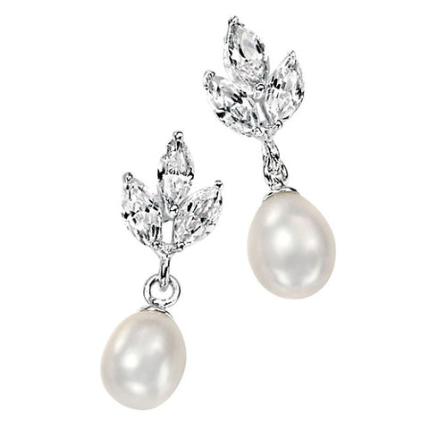 Freshwater pearl and cubic zirconia drop earrings in silver