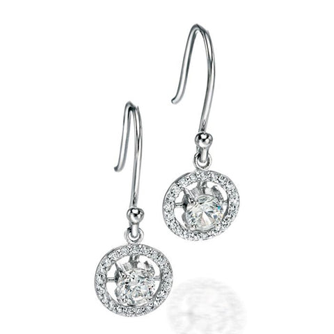 Cubic zirconia halo drop earrings in silver