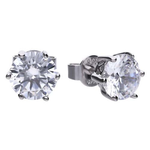Cubic zirconia solitaire stud earrings in silver