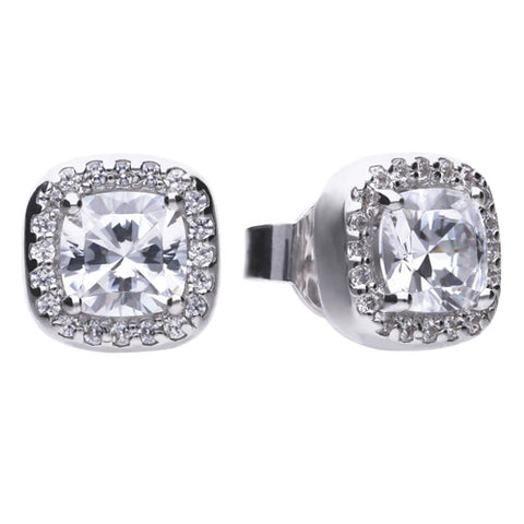 Cubic zirconia cushion shape halo cluster earrings in silver