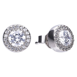Cubic zirconia halo cluster earrings in silver