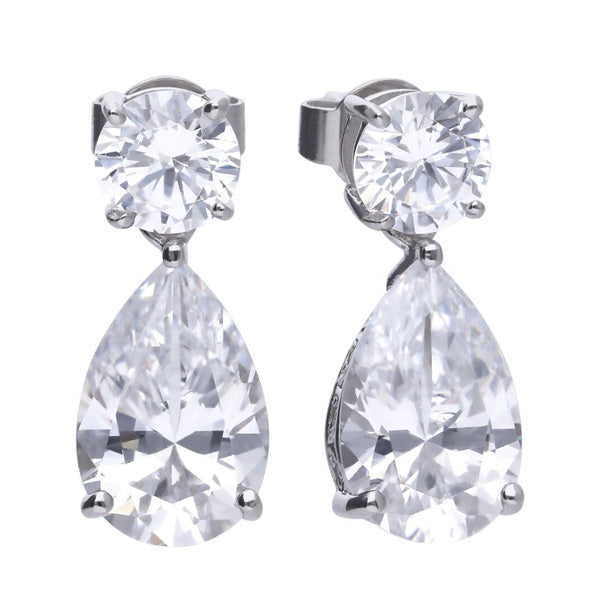 Cubic zirconia pear and round drop earrings in silver