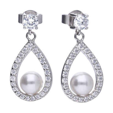 Simulated pearl and cubic zirconia drop earrings in silver