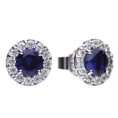Blue cubic zirconia halo cluster earrings in silver
