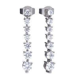 Cubic zirconia graduated drop earrings in silver