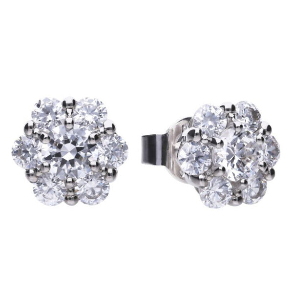 Cubic zirconia cluster earrings in silver