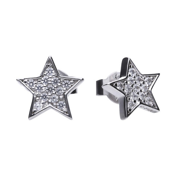 Cubic zirconia star stud earrings in silver