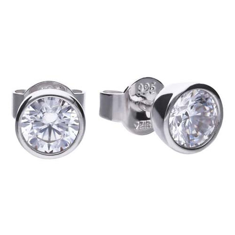 Cubic zirconia rubover set stud earrings in silver