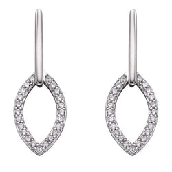 Cubic zirconia open marquise shape drop earrings in silver