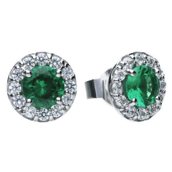 Green cubic zirconia halo stud earrings in silver